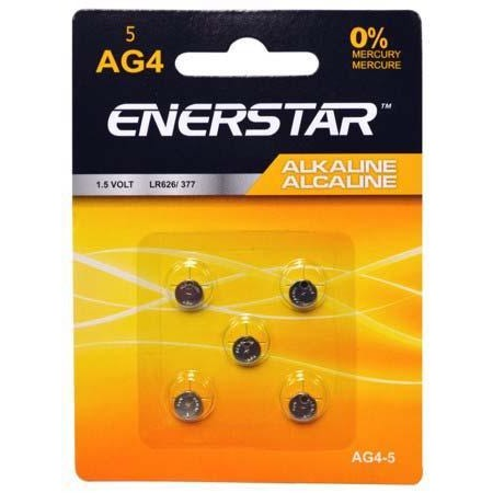 Alkaline Button Cell Battery AG4, 5/pk
