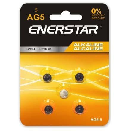 Alkaline Button Cell Battery AG5, 5/pk