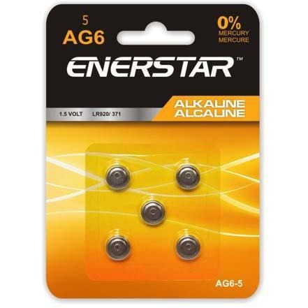 Alkaline Button Cell Battery AG6, 5/pk
