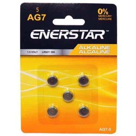 Alkaline Button Cell Battery AG7, 5/pk