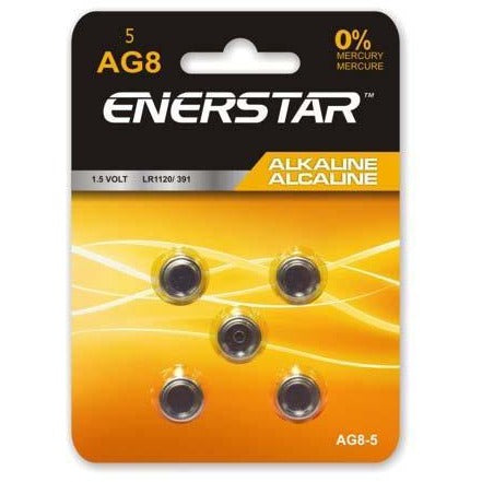 Alkaline Button Cell Battery AG8, 5/pk