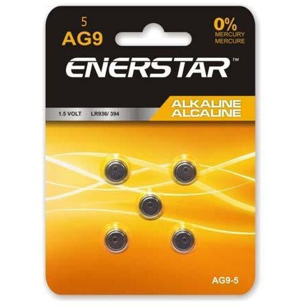 Alkaline Button Cell Battery AG9, 5/pk