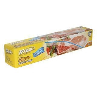 Zipper Bags 10.5in x 11in - Large Freezer Bags, 12/pk
