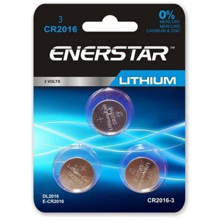 Lithium Button Cell Battery - CR2016, 3/pk