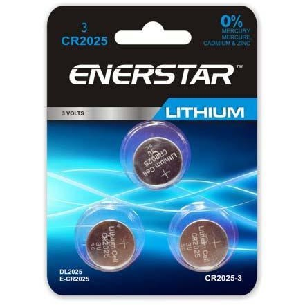 Lithium Button Cell Battery - CR2025, 3/pk