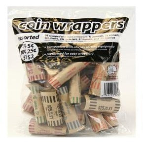 Paper Coin Wrapper Tubes Assorted, 36/pk