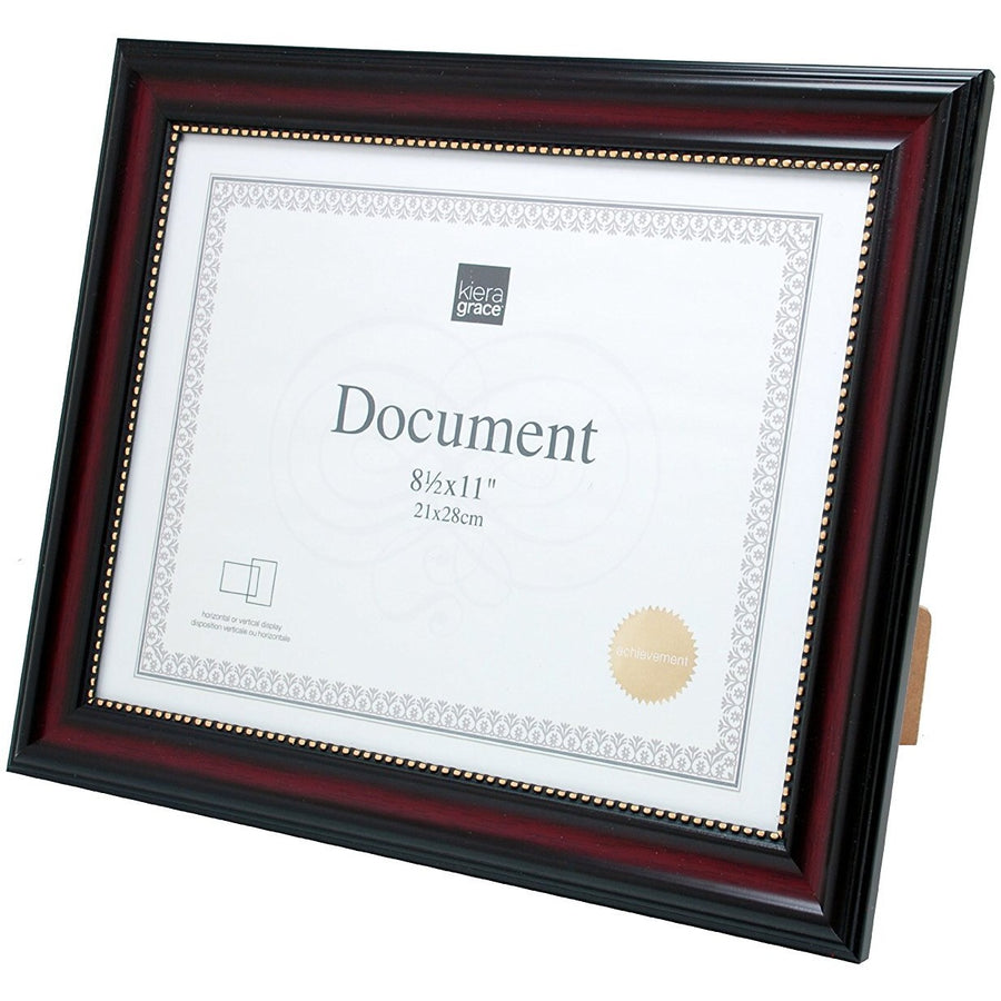 "Document Frame, 8.5""x 11"", Dark Brown with Gold Beading"