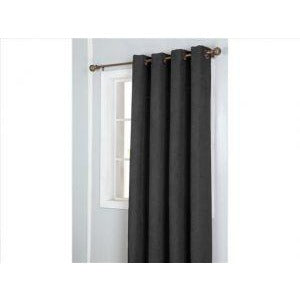 Window Curtain Faux Suede with 8 Grommets - Black