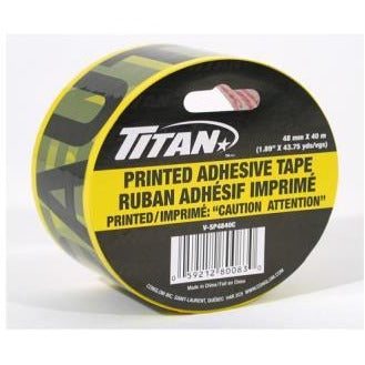 "Titan Carton "" CAUTION ATTENTION"" Tape - Clear Yellow, 40m"