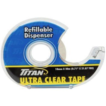 Titan Ultra Clear Tape with Refillable Dispenser 18mm x 20m