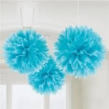 "Tissue Pom-poms 17"" - Baby Blue, 3/pack"