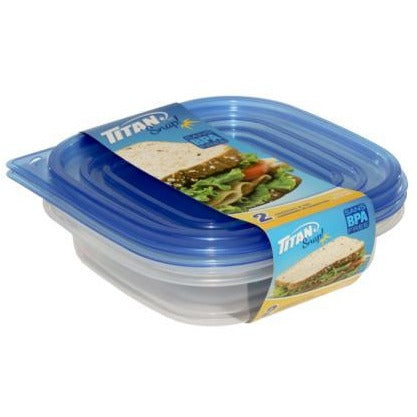 Snap Short Square Food Containers 700ml, 2/pk