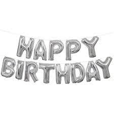 Happy Birthday Balloon Banner Kit Silver