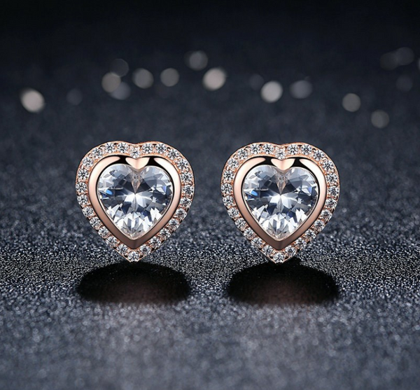 Rose Gold Studded Hearts