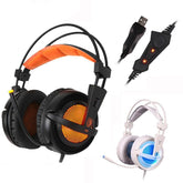 A6 USB 7.1 Surround Sound USB Stereo Gaming Headphones Over Ear Noise Isolating Breathing with LED Lights