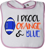 I Drool Orange & Blue Bib