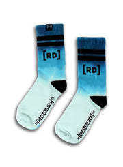 Brooklyn Striped Dip Dye Socks in Aqua