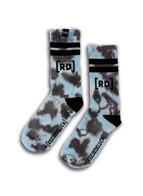 Brooklyn Striped Tie Dye Socks in Aqua Black