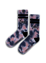 Brooklyn Striped Tie Dye Socks in Quartz Blue
