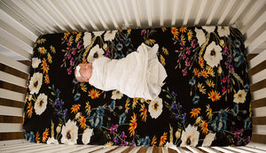 Organic Bamboo Crib Sheet - Black Vogue Floral