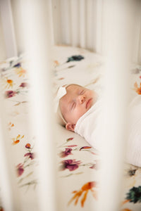 Organic Bamboo Crib Sheet - White Vogue Floral