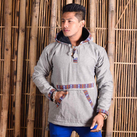 White Bhutani Designed Hoodie For Men