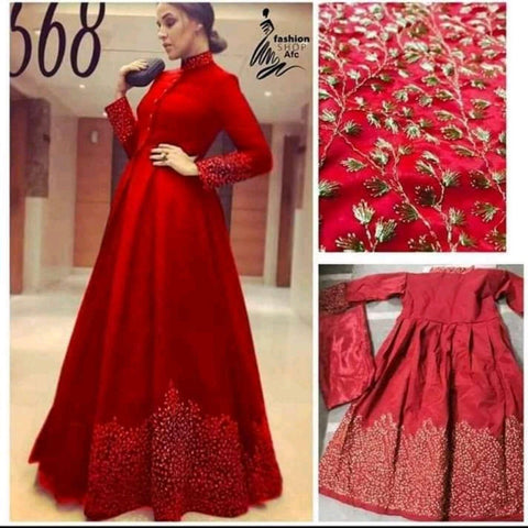 Red Designer Semi Stitched Lehenga