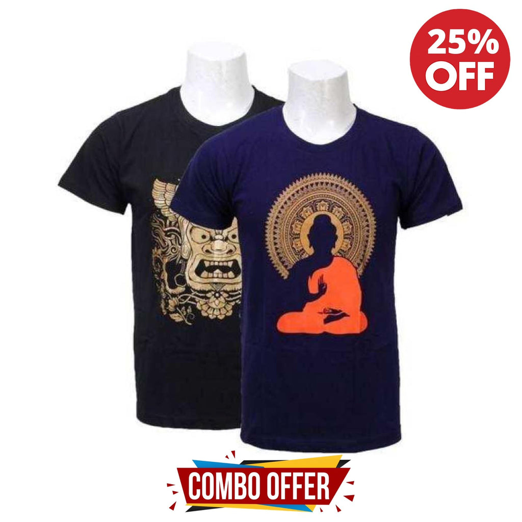 Pack of 2 Cotton Printed Tshirts For Men- Black/Navy Blue