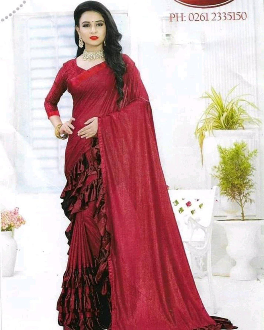 Red Printed Fancy  Saree For Women