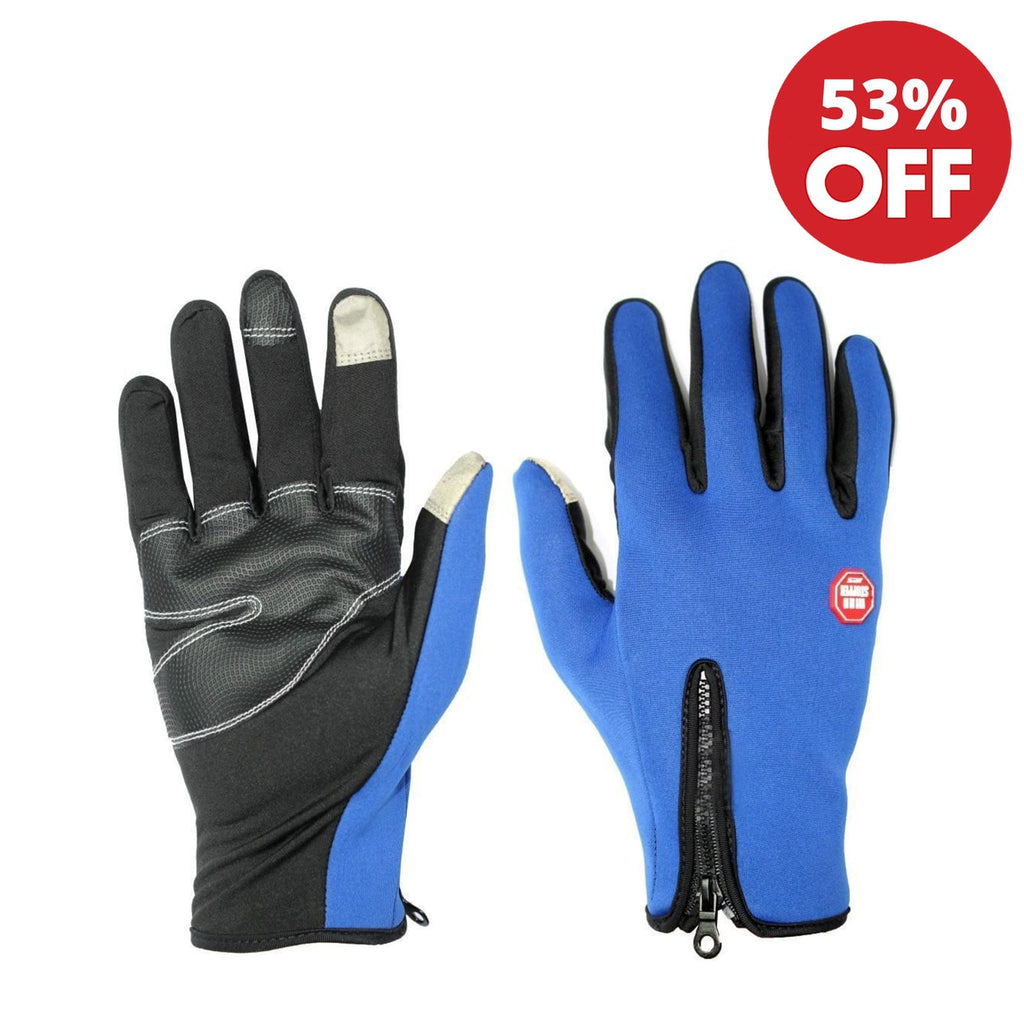 Blue Front Zippered Windstopper Gloves