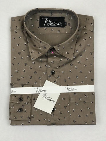 Brown Pattern Cotton Shirt For Men