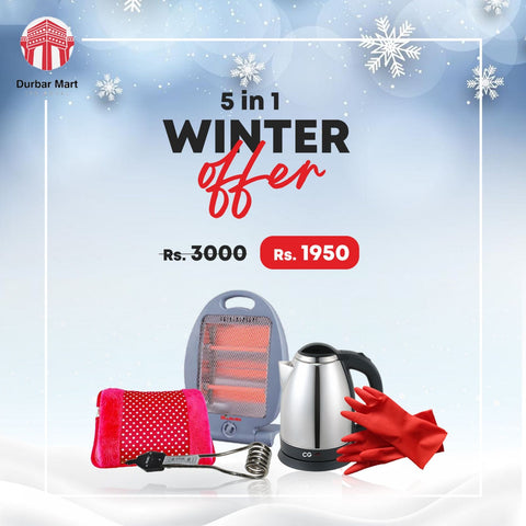 5 In 1 Winter Combo Of Room Heater, Water Kettle, Water Heating Rod, Dish Washing Gloves And Hot Bag