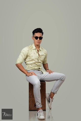 Cream Pattern Cotton Shirt For Men