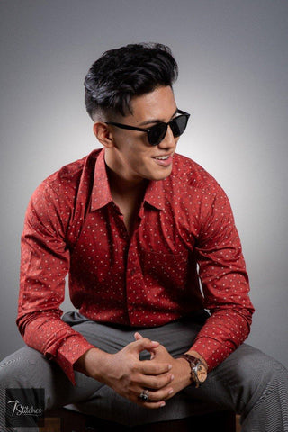 Red Cotton Shirt For Men
