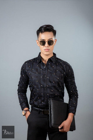 Black Pattern Cotton Shirt For Men
