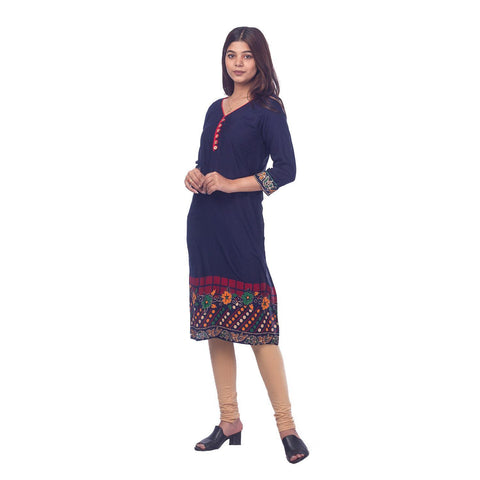 Bisesh Creation Navy Blue Jaipuri Rayon Printed Front Buttoned Kurti For women