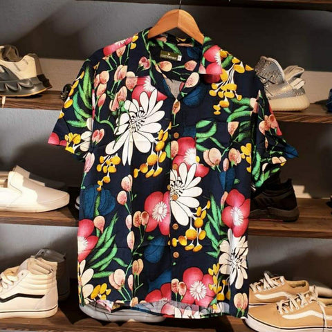 Floral Summer Over Size Collar Half Shirt For Men