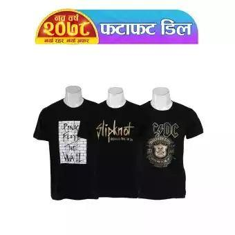 Shangrila Combo Of 3 Cotton Heavy-Metal Printed T-Shirts For Men