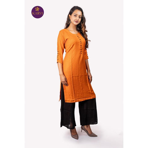 KARVI Orange Kurti with Small Patterned Front Buttoned Design price in Nepal