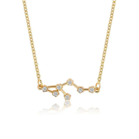 Gold Toned Leo Twelve Constellation Patterned Zodiac Sign Necklace For Women price in Nepal