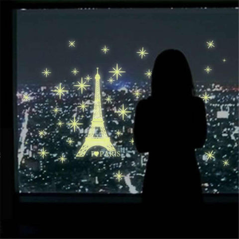 I Love Paris Night Eiffel Tower Luminous Sticker Wall Sticker Wall Decals