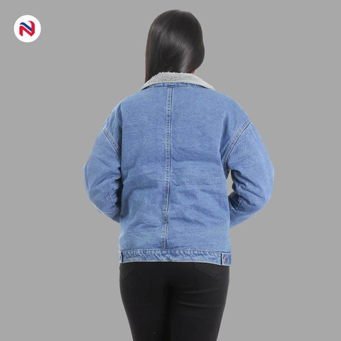 Nyptra Light Blue Solid Fur Denim Jacket For Women