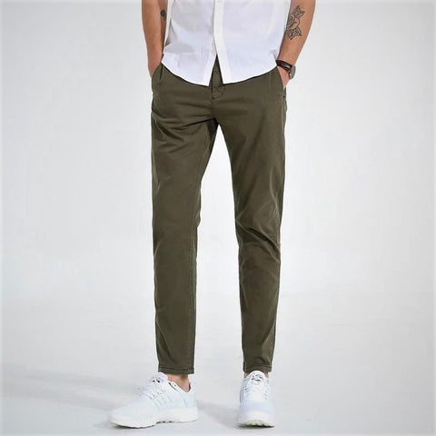 Army Green Twill Jeans Chinos For Men