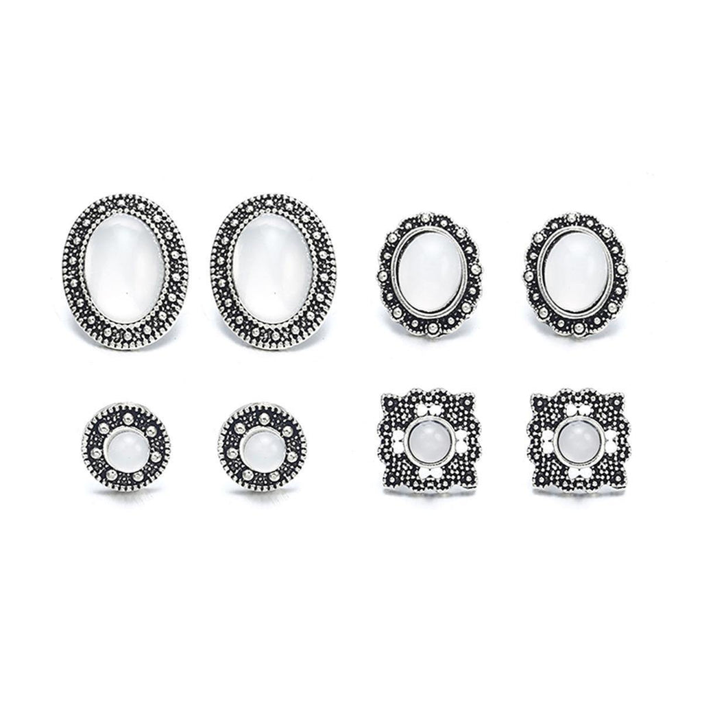 4 Pairs Set White Stone Stud Earring price in Nepal
