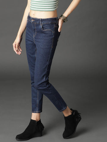 RS Women Navy Blue Skinny Fit Mid-Rise Clean Look Stretchable Cropped Jeans