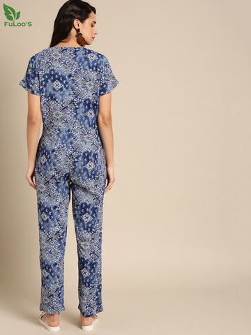 DB Women Blue & White Printed Basic Jumpsuit