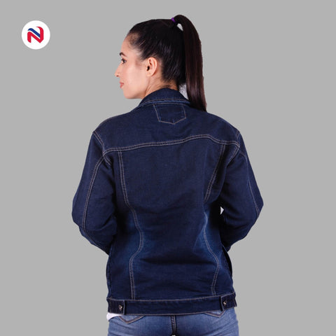 Nyptra Dark Blue Oversized Premium Solid Denim Jacket For Women