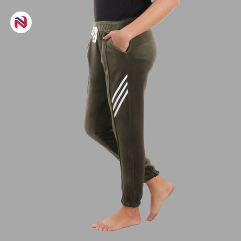 Nyptra Green Velvet Stripes Inner Fleece Joggers For Women