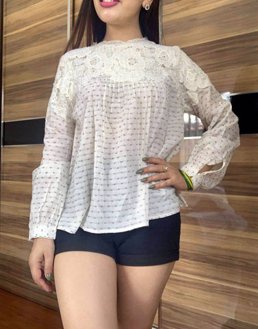 Off white Lace Dotted Tops price in nepal