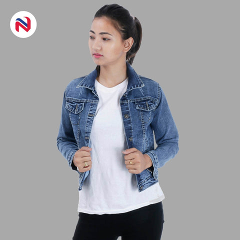 Nyptra Light Blue Crop Denim Jacket For Women